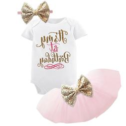 1st Birthday Party Outfits Tutu Baby Girl Gold Bow infant Cl