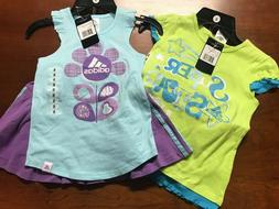 adidas 2 pc outfit top & short girls/kids/toddler short/skor