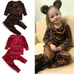 2 Pcs Fashion Toddler Kids Baby Girls Velvet Clothes Outfit