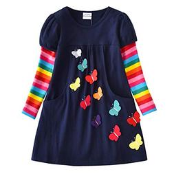 VIKITA 2018 Toddler Girls Dresses Long Sleeve Girl Dress for