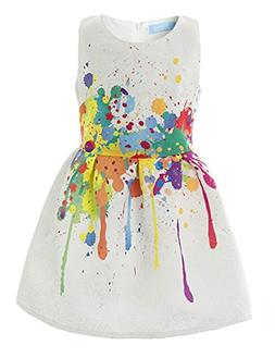 21KIDS Creative Art Colorful Paint Dress Print Girls Casual