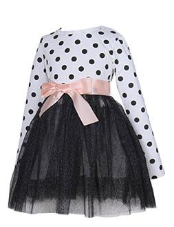 21KIDS Girl Casual Polka Dotted Multilayer Ruffled Long Slee