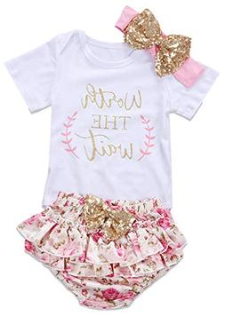 2Bunnies 3PCS Baby Girls Worth The Wait Floral Outfit Romper
