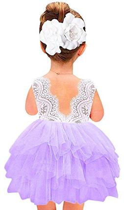 2Bunnies Girl Baby Girl Beaded Backless Lace Back Tutu Tulle