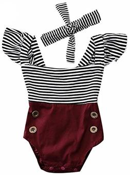 2Bunnies Newborn Toddler Baby Girl Striped Romper Bodysuit+H