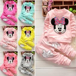 2pcs Baby Girls Minnie Mouse Hoodie Tops +Pants Kid Winter O