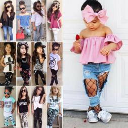 Kids Baby Girl Outfits Suit T-shirt Tops Long Pants Leggings