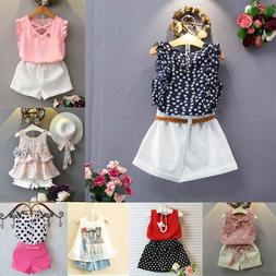 2PCS Kids Baby Girls Toddler Outfit Clothes Summer T-shirt T