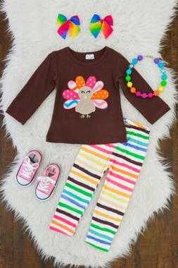 2pcs Toddler Kids Baby Girl Thanksgiving Clothes Turkey Tops