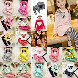 2PCS Toddler Kids Baby Girls Clothing Long Sleeve Tops Pants