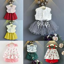 2PCS Toddler Kids Baby Girls Outfits Clothes T-shirt Tops+Pa
