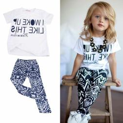 2PCS Toddler Kids Baby Girls Outfits T-shirt Top + Geo-Triba