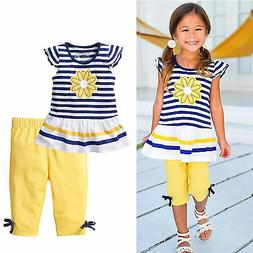 2PCS Toddler Kids Girls Floral Outfits T-shirt Tops + Pants
