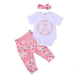 3PCS Newborn Floral Outfit Set, Baby Girls Isn't She Lovely