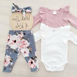 3Pcs Newborn Toddler Baby Girls Flower Top Romper Long Pants