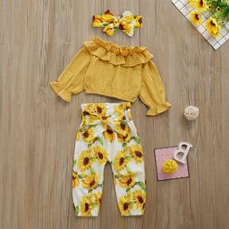 3PCS Toddler Baby Girls Autumn Clothes Set Ruffle Tops Sunfl