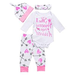 4 pcs Baby Girls Pants Set Newborn Infant Toddler Letter Rom