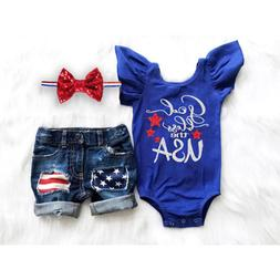 4th of July Clothes Newborn Kid Baby Girl USA Flag Romper+Ri