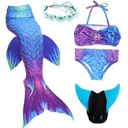 5 Piece Mermaid Tail Swimsuit with Removable Fin and Include