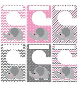 Closet Doodles 6 baby clothing dividers elephants gray pink