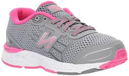 New Balance Girls' 680v5 Running Shoe, Steel/Pink Glo, 2.5 W