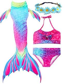 AMENON 3PCS Girls Mermaid Tail Bathing Suit Princess Swimsui