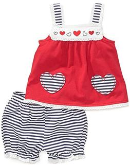 Adiasen Little Girl's Dot Prints Summer Clothing Sets