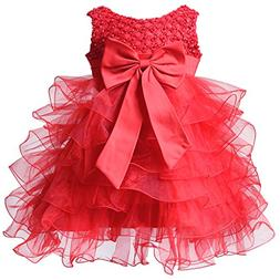 BAOHULU BHL Baby Girl Pageant Dress Organza 12 Month Red