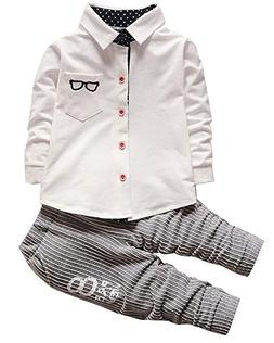 Baby Boys Long Sleeve Dress Shirt Top Pants Clothes Outfits