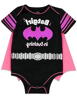 "Baby Girl Batgirl Onesie with Cape - Black and Pink, ""Batgir"