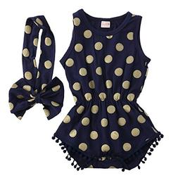 Baby Girl Clothes Gold Dots Bodysuit Romper Jumpsuit One-pie