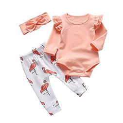 Baby Girl Clothes Pink Ruffle Long Sleeve Tops Flamingo Pant