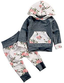 Baby Girls Long Sleeve Flowers Hoodie Top and Pants Outfit w