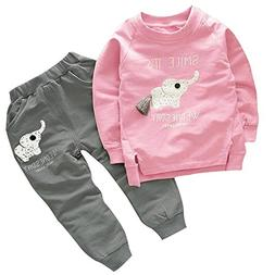BomDeals Cute Elephant Print Toddler Baby Girls Clothes Set,