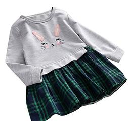 BomDeals Cute Toddler Girl Bunny Plaid Dress, Kids Sweet Shi