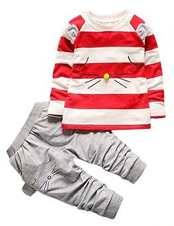 Boys Fall Cotton Long Sleeve 2 Pieces Clothing Sets Stripes