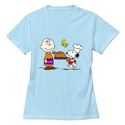 Buluew Women's Geek Charlie Brown Snoopy Cotton T-Shirt Size