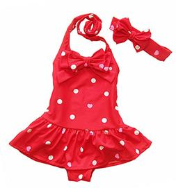 CHUNG Baby Toddler Little Girls Heart Dot Printed One Piece