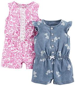 Carter's Baby Girls' 2-Pack One Piece Romper, Chambray Print