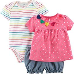Carter's Baby Girls' 3 Piece Bodysuit and Diaper Cover Set 3