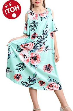 Casual Floral Dresses Ruffles Maxi Print for Girls Toddlers