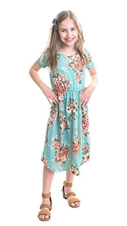 Chrome Classic Girls Midi Floral Dress w/Short Sleeves Made