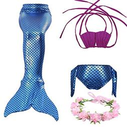 FELALA 3PCS Girls Mermaid Tail Swimsuit Princess Bikini Set