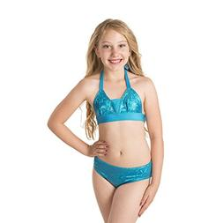 Fin Fun Girls Sparkle Bikini Set - Mediterranean Sea Top and
