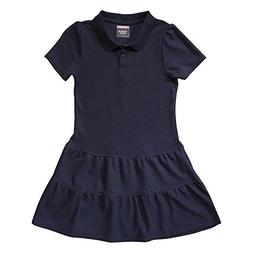 French Toast Little Girls Ruffle Pique Polo Dress, Navy,  Sm