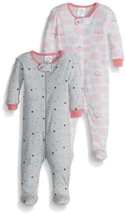 Gerber Baby Girls 2 Pack Footed Sleeper, Stars/Clouds, 12 Mo