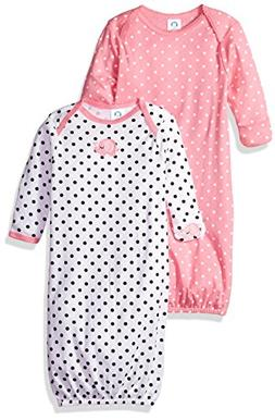 Gerber Baby Girls' 2-Pack Gown, Elephants/Flowers, 0-6 Month