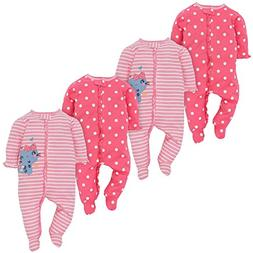 Gerber Baby Girls 4 Pack Sleep and Play, Kitty, 3-6 Months