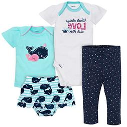 Gerber Baby Girls 4 Piece Shirt, Onesies, Skirted Panty and