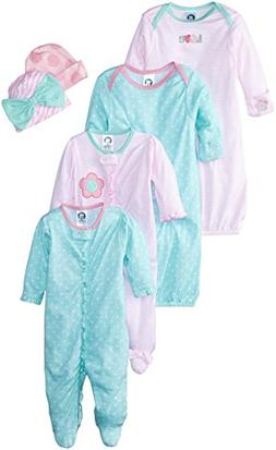 Gerber Baby Girls' 6 Piece Gown, Cap , and Sleep'n Play  Gif
